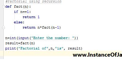 Find factorial of a number by using recursion using python